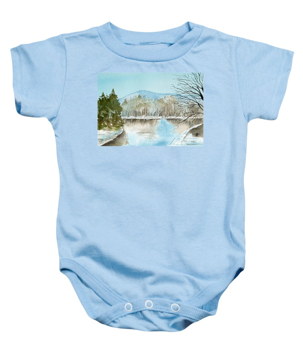 Landscape Baby Onesie featuring the painting Winter's Daylight Chill by Brenda Owen
