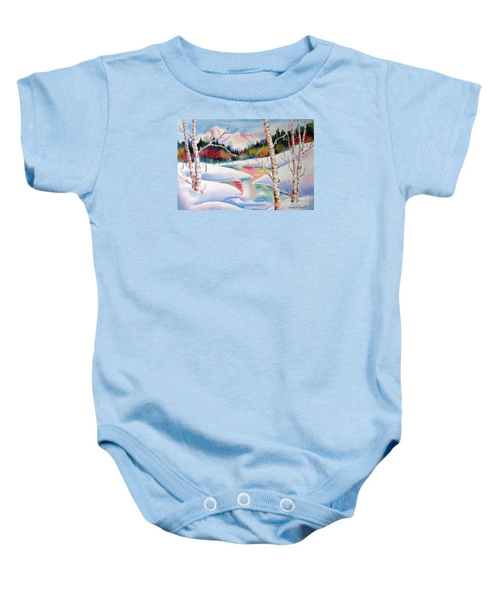 Snow Baby Onesie featuring the painting Winter's Light by Deborah Ronglien