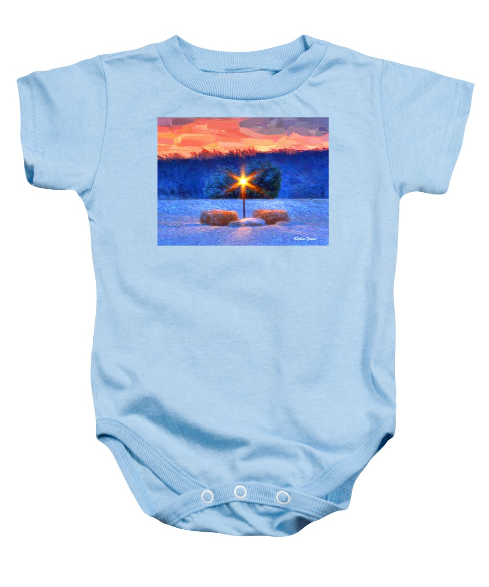 Winter Baby Onesie featuring the digital art Winter's Morn by Stephen Younts