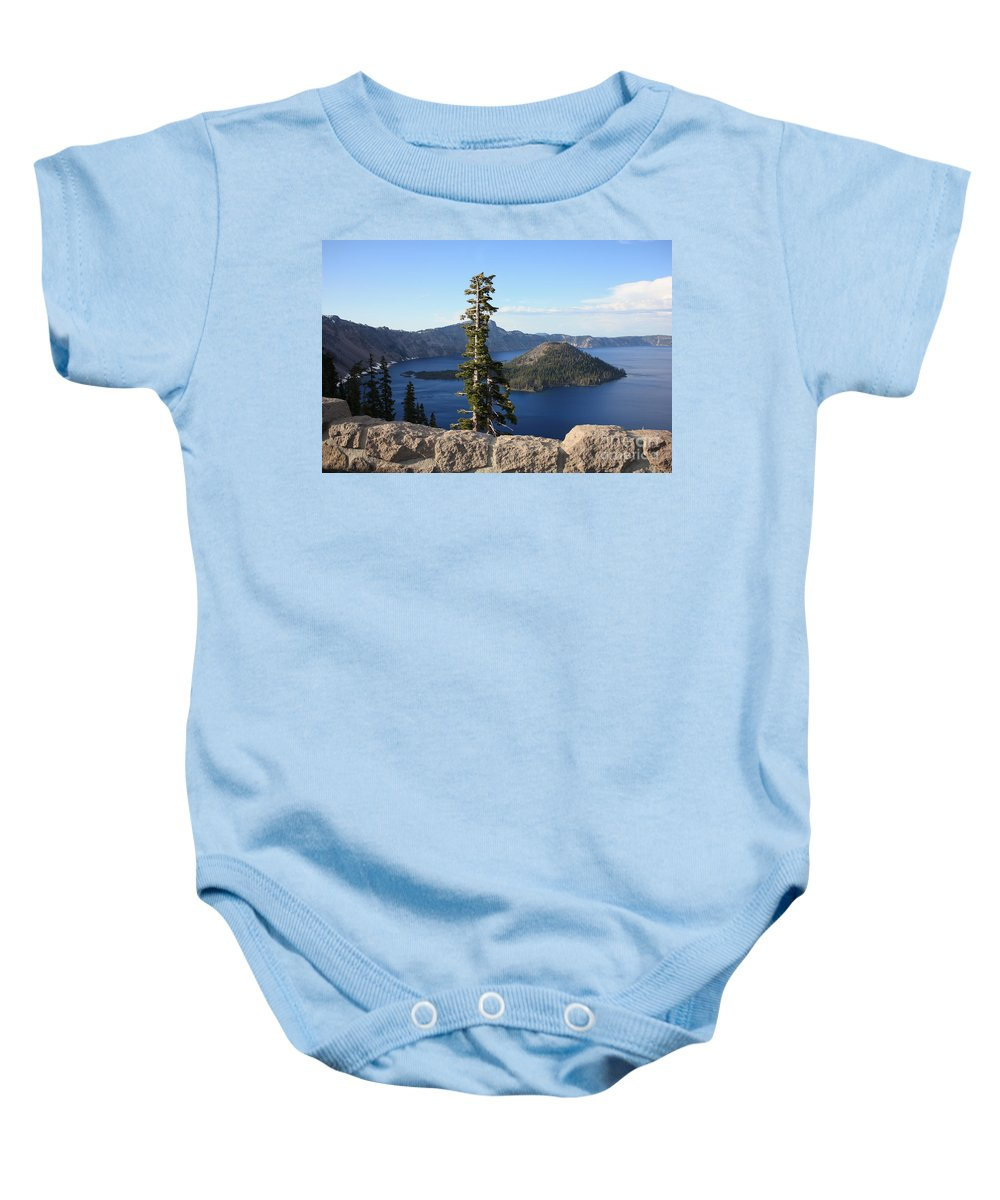 Wizard Island Baby Onesie featuring the photograph Wizard Island With Rock Fence At Crater Lake by Carol Groenen