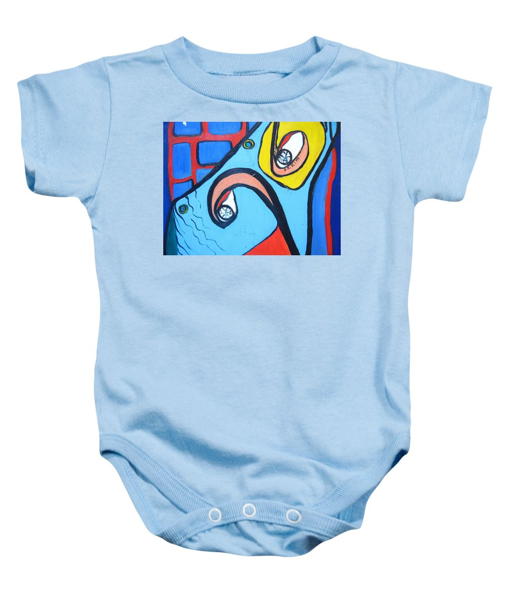 Woman Paintings Baby Onesie featuring the painting Woman13 by Seon-Jeong Kim
