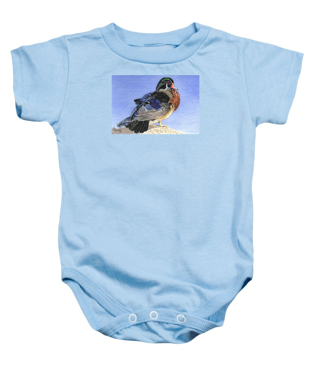 Duck Baby Onesie featuring the painting Wood Duck by Lynn Quinn