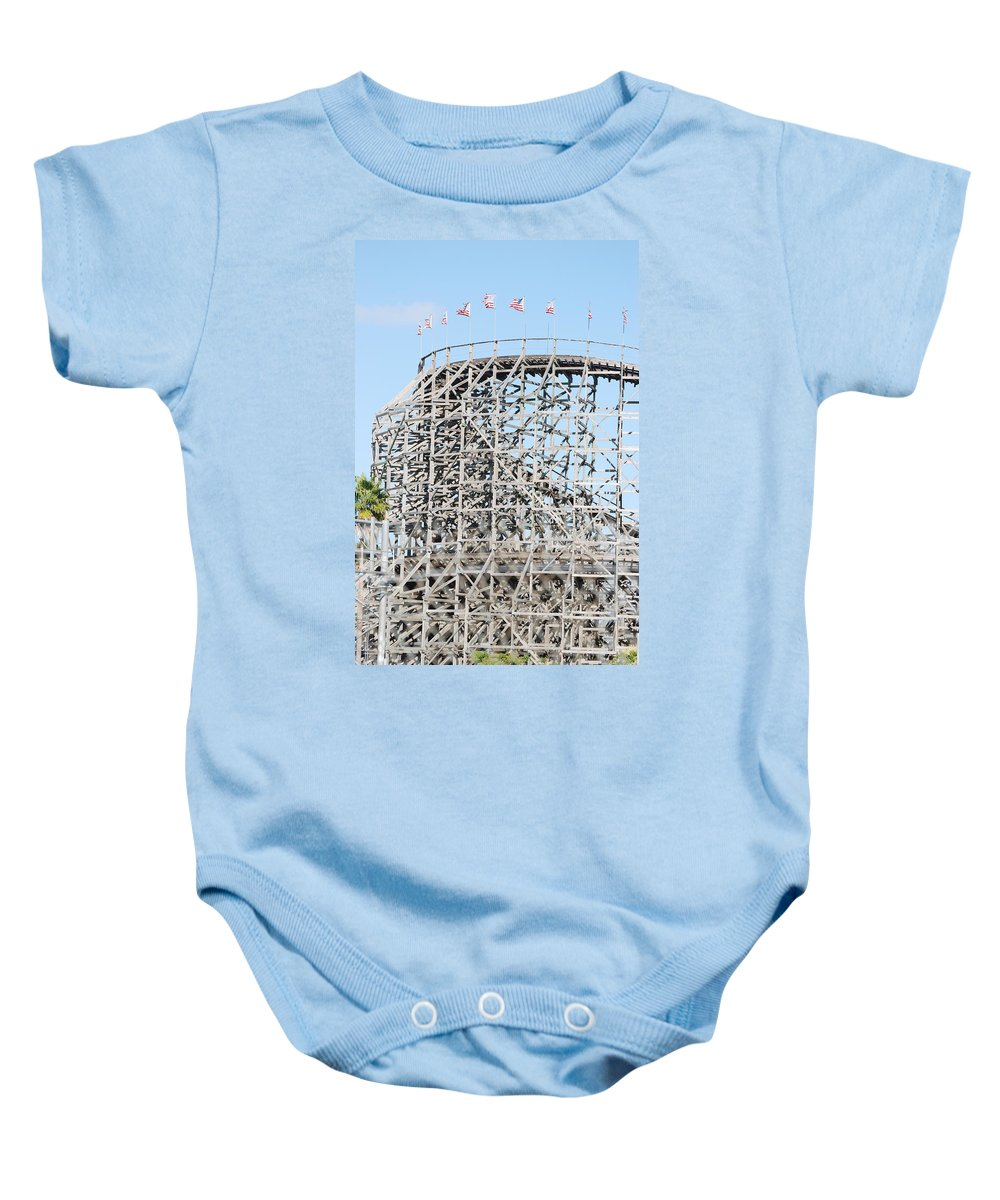 Pop Art Baby Onesie featuring the photograph Wooden Coaster by Rob Hans