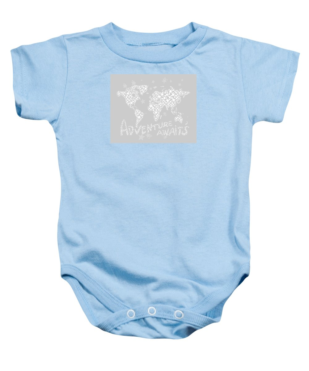 World Map Baby Onesie featuring the digital art World Map For Kids White Gray by Hieu Tran