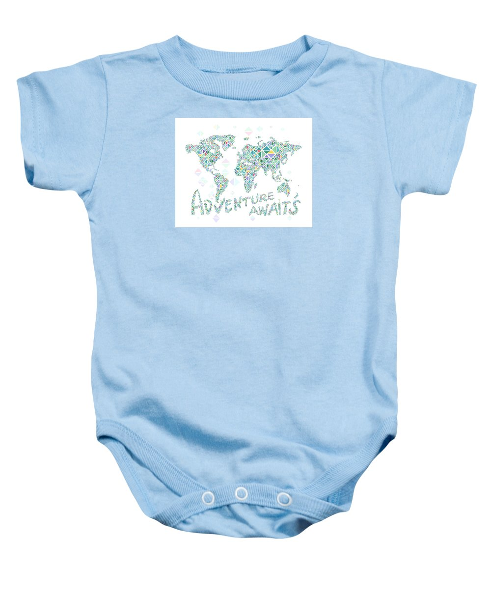 World Map Baby Onesie featuring the digital art World Map Geometric Spring Color by Hieu Tran