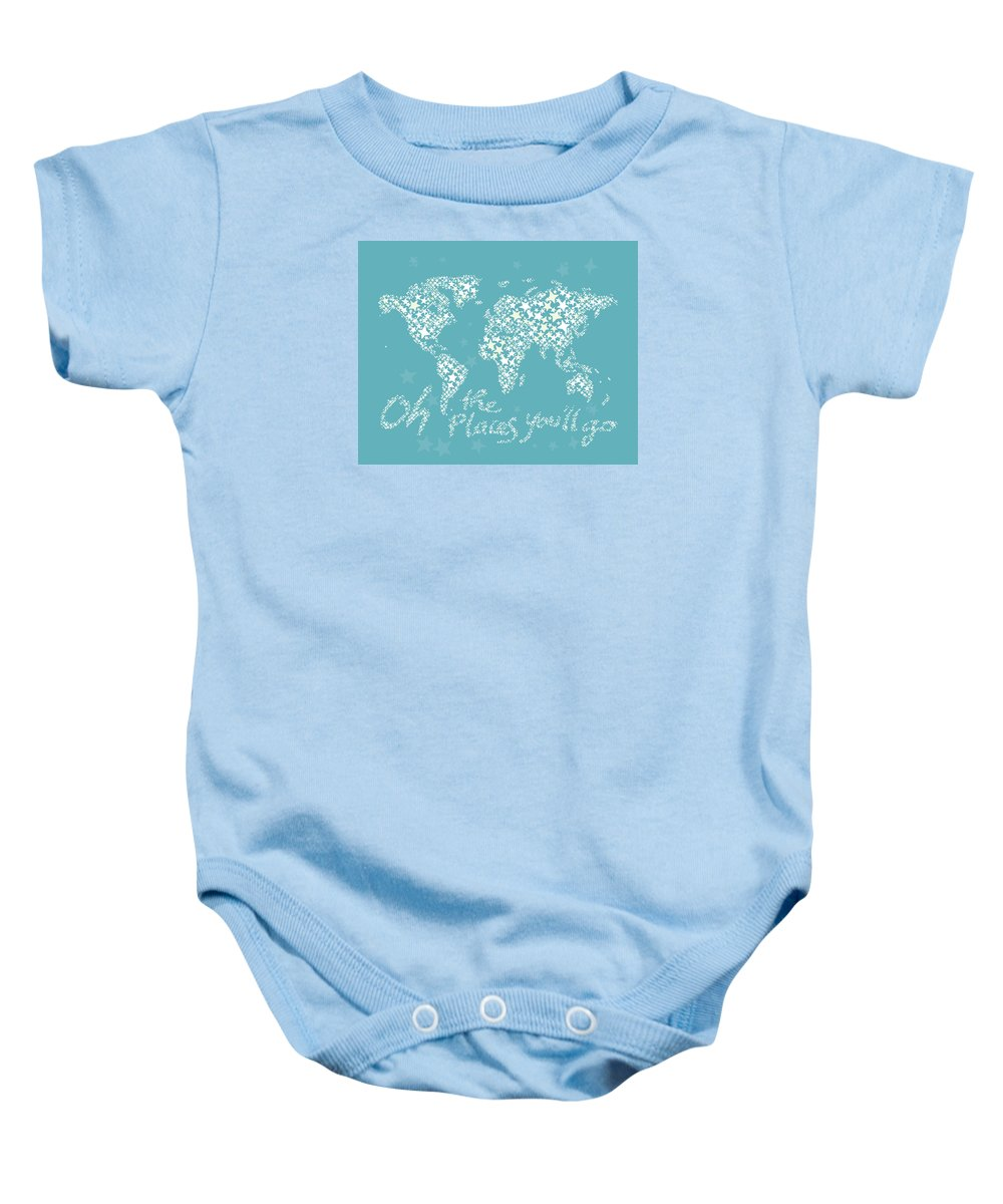 World Map Baby Onesie featuring the digital art World Map White Star Turquoise by Hieu Tran