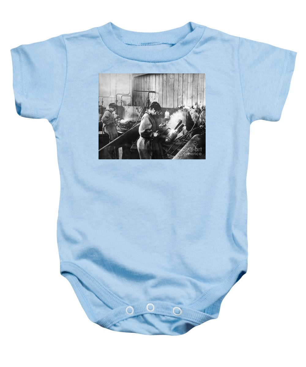 1917 Baby Onesie featuring the photograph World War I: Women Workers by Granger