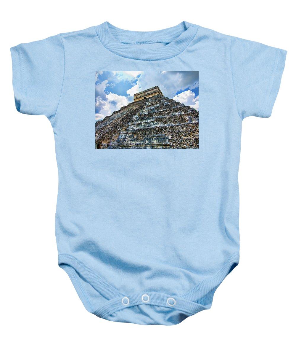 Chichen Itza Pyramid Baby Onesie featuring the photograph World Wonder by Douglas Barnard
