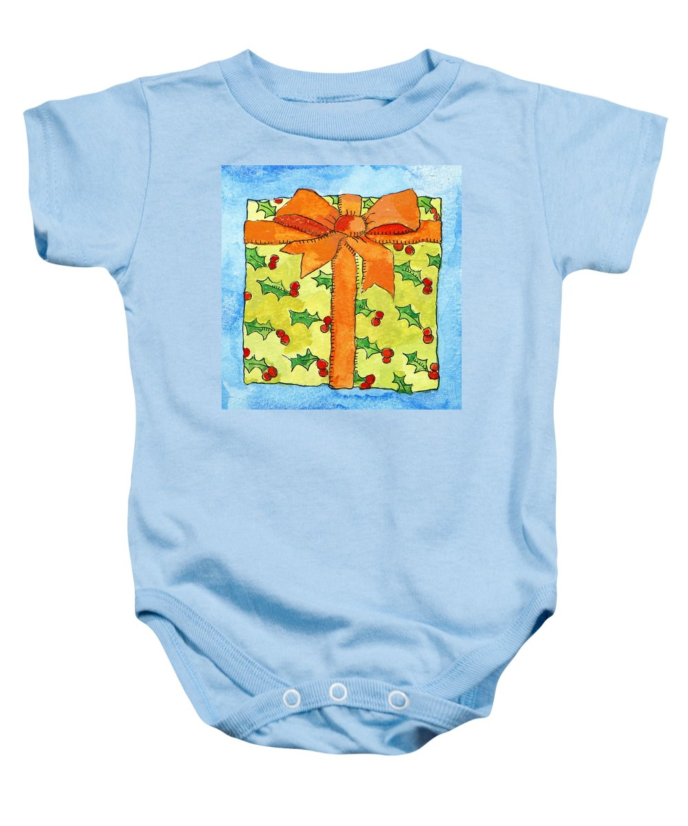 Present Baby Onesie featuring the painting Wrapped Gift by Jennifer Abbot