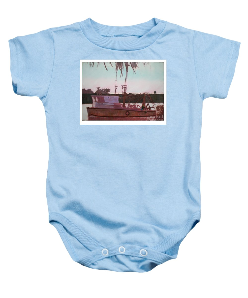 Seascape Baby Onesie featuring the digital art Yankee Town Fishing Boat by Hal Newhouser