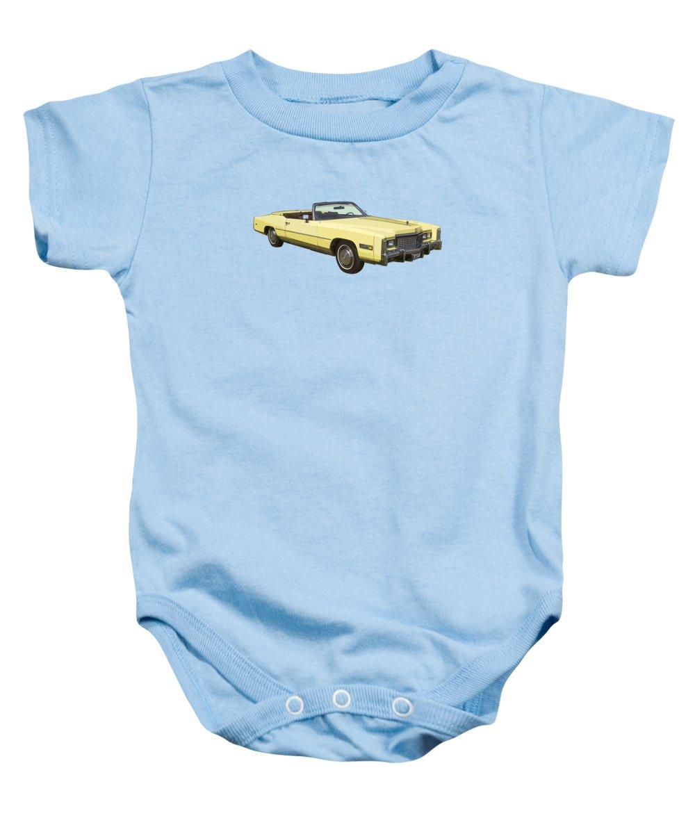 Cadillac Baby Onesie featuring the photograph Yellow 1975 Cadillac Eldorado Convertible by Keith Webber Jr