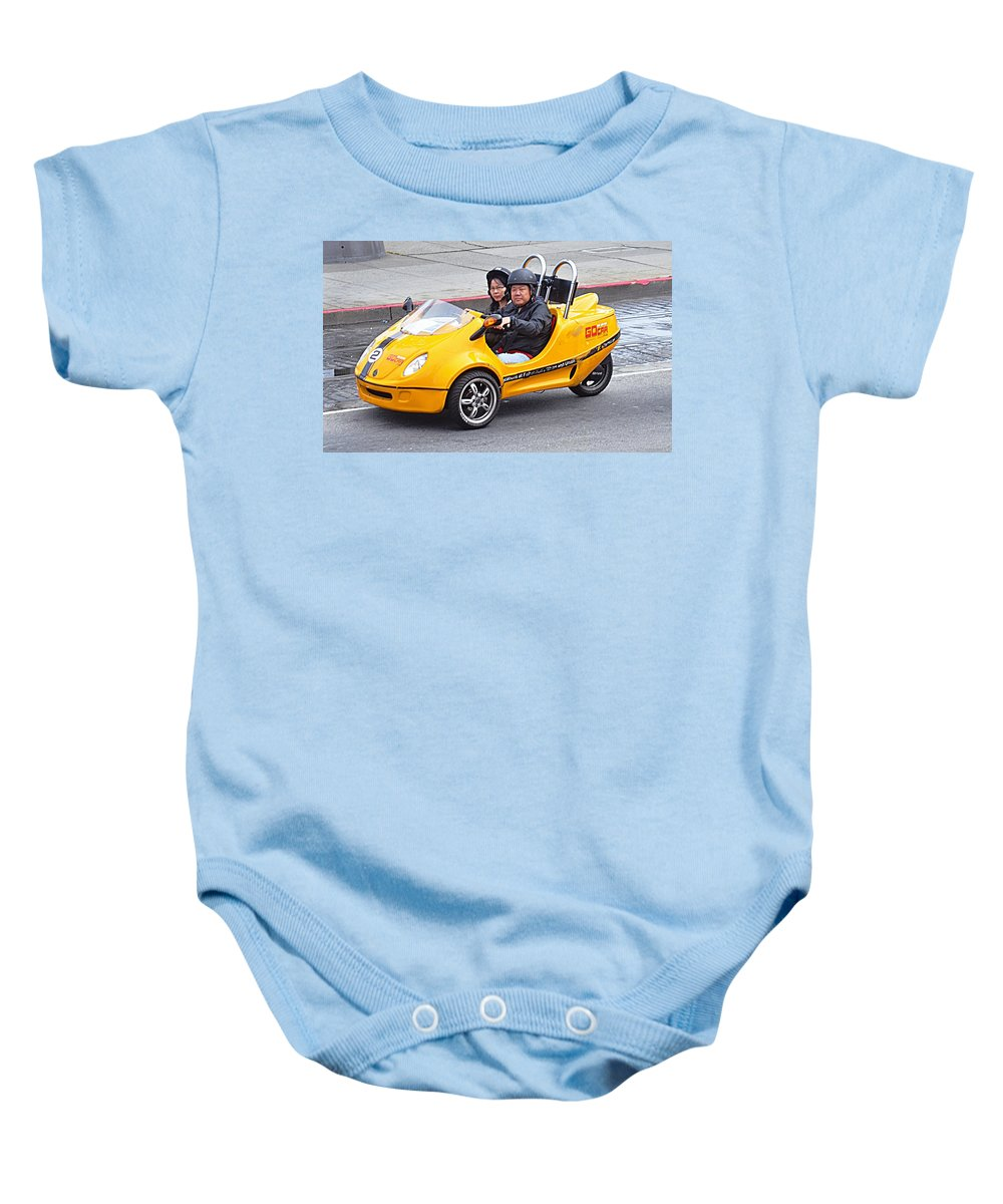 Yellow Baby Onesie featuring the photograph Yellow Car by John Hughes