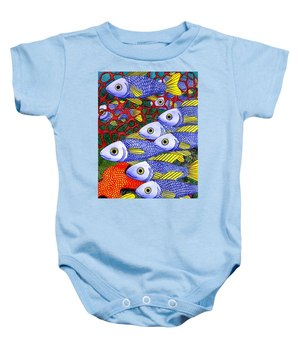 Fish Baby Onesie featuring the painting Yellow Fins by Catherine G McElroy