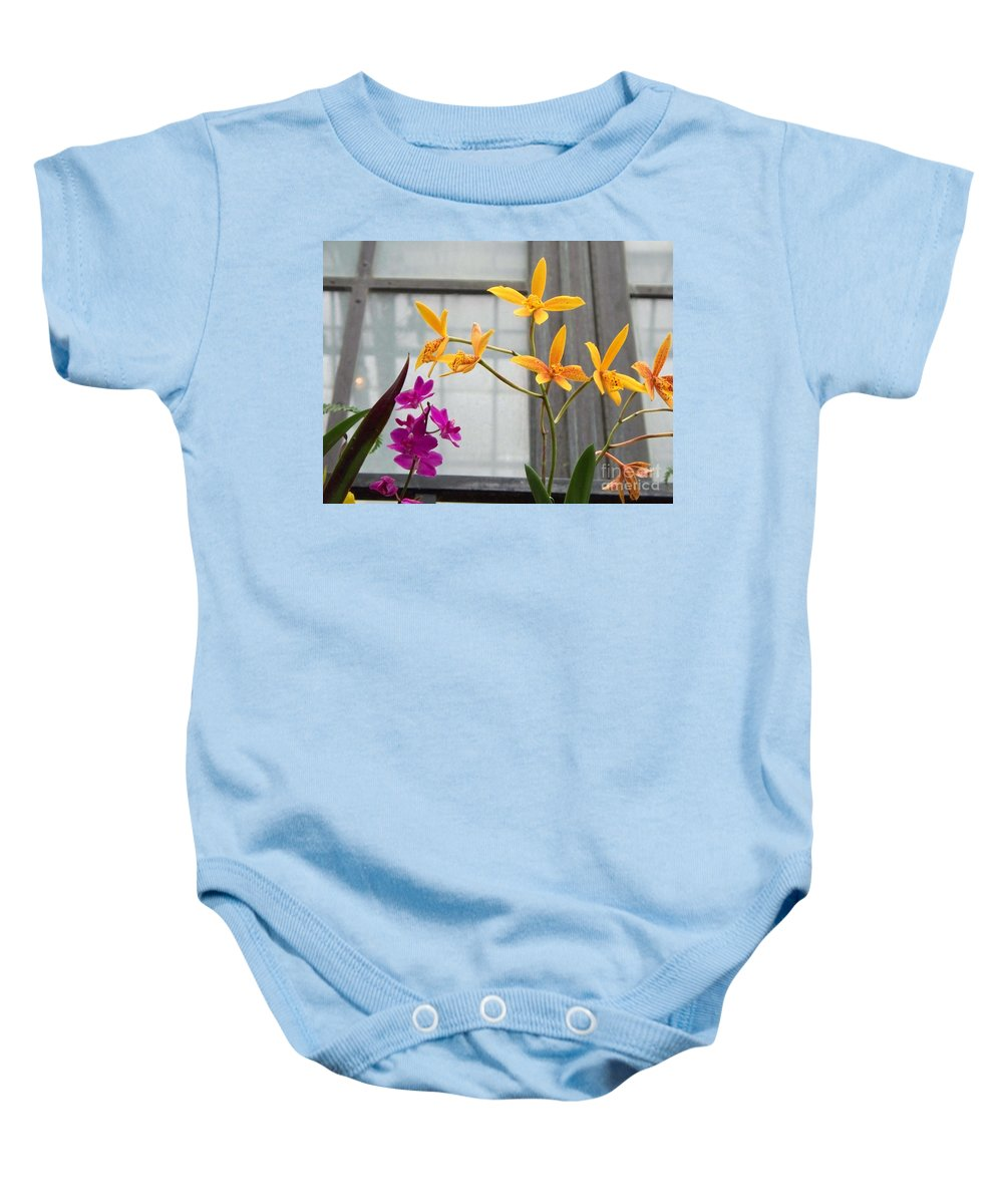 Yellow Baby Onesie featuring the painting Yellow Orange And Purple Flowers by Eric Schiabor