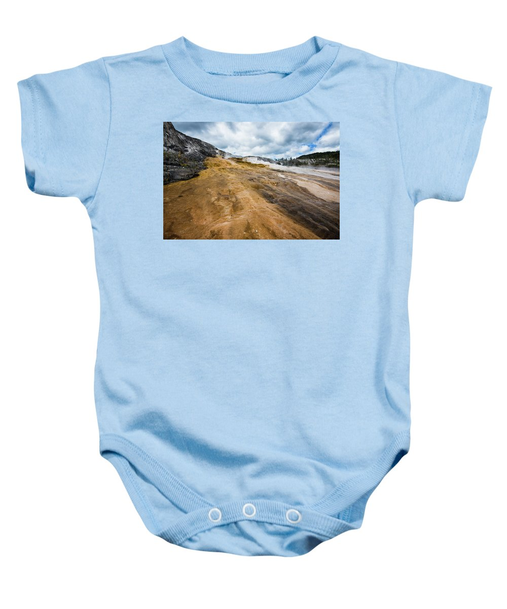North America Baby Onesie featuring the photograph Yellowstone Hot Springs by David Finlayson