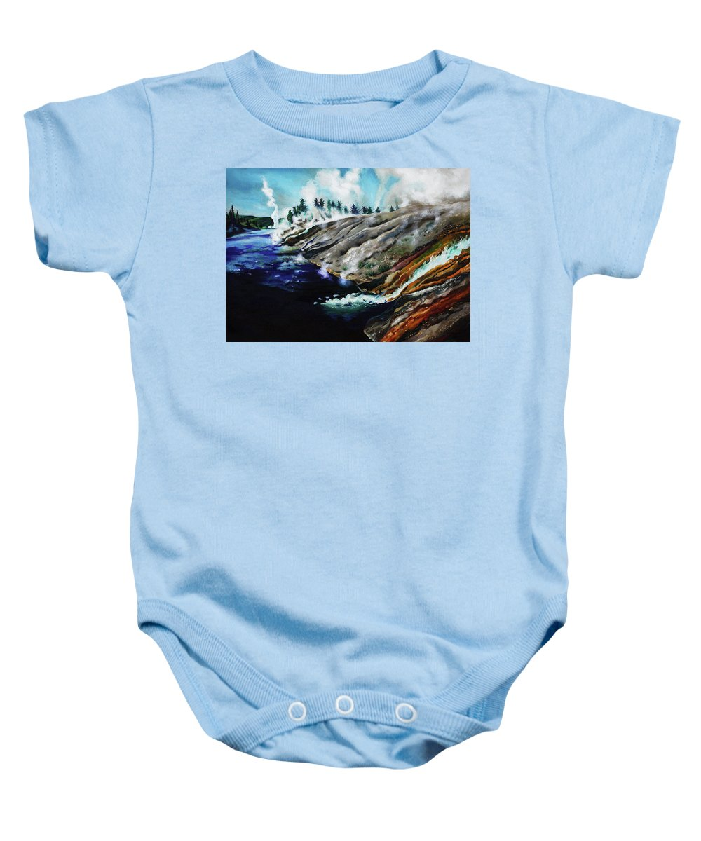 Landscape Baby Onesie featuring the painting Yellowstone Hot Springs by Wei Huang
