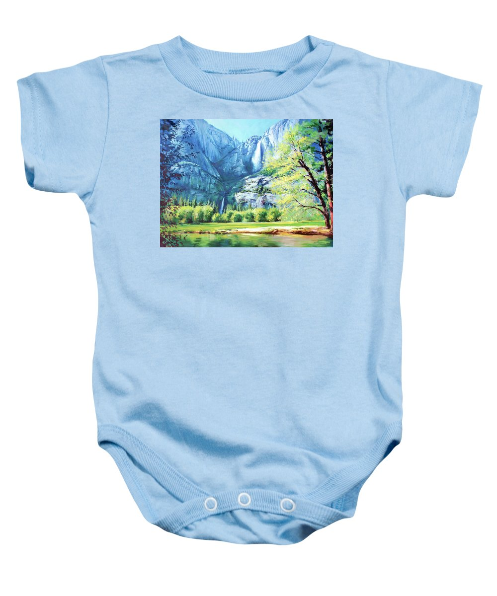 Yosemite National Park Baby Onesie featuring the painting Yosemite Park by Conor McGuire