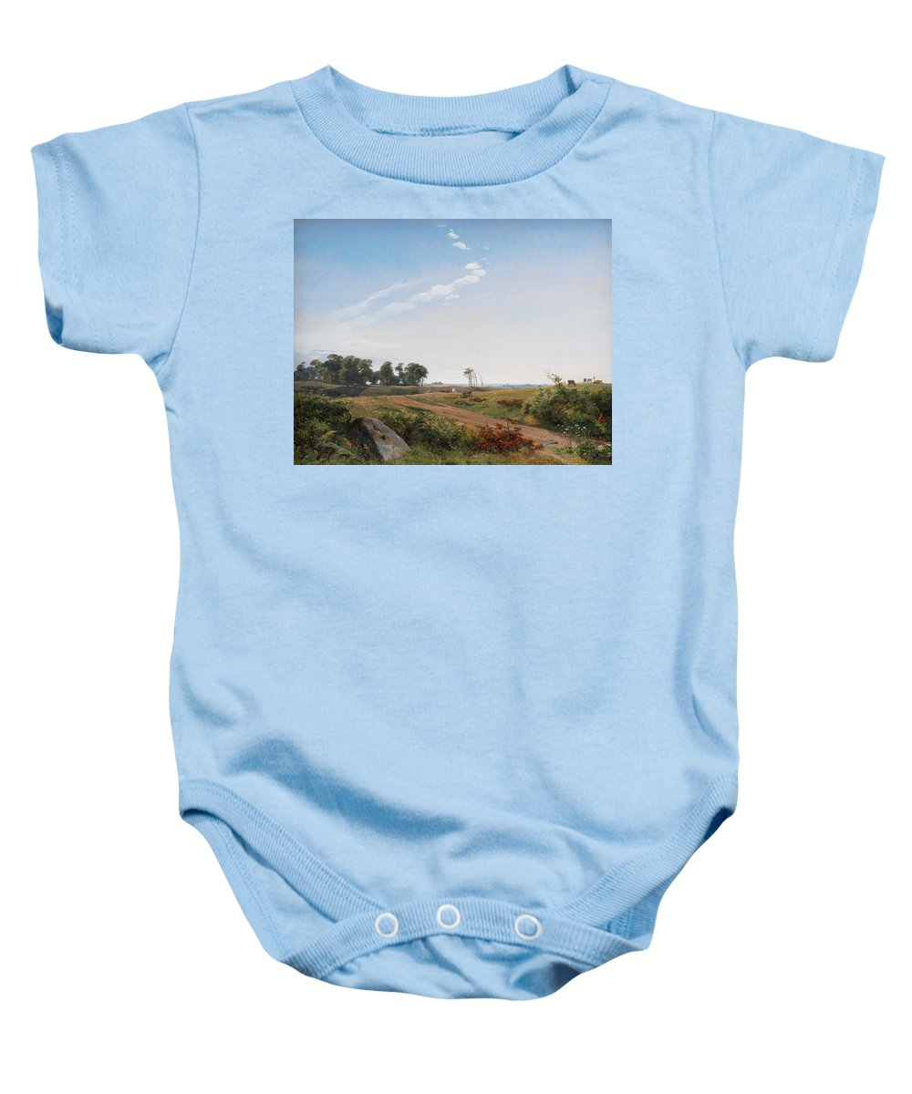 Land Baby Onesie featuring the painting Zealand Landscape by Johan Thomas Lundbye