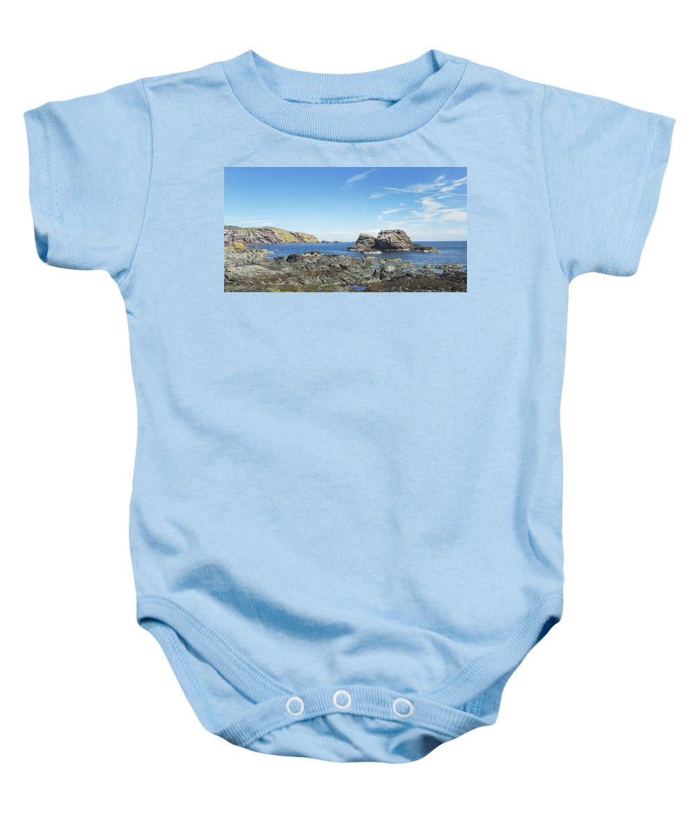 Sea Baby Onesie featuring the photograph cliffs and coast at St. Abbs, Berwickshire by Victor Lord Denovan