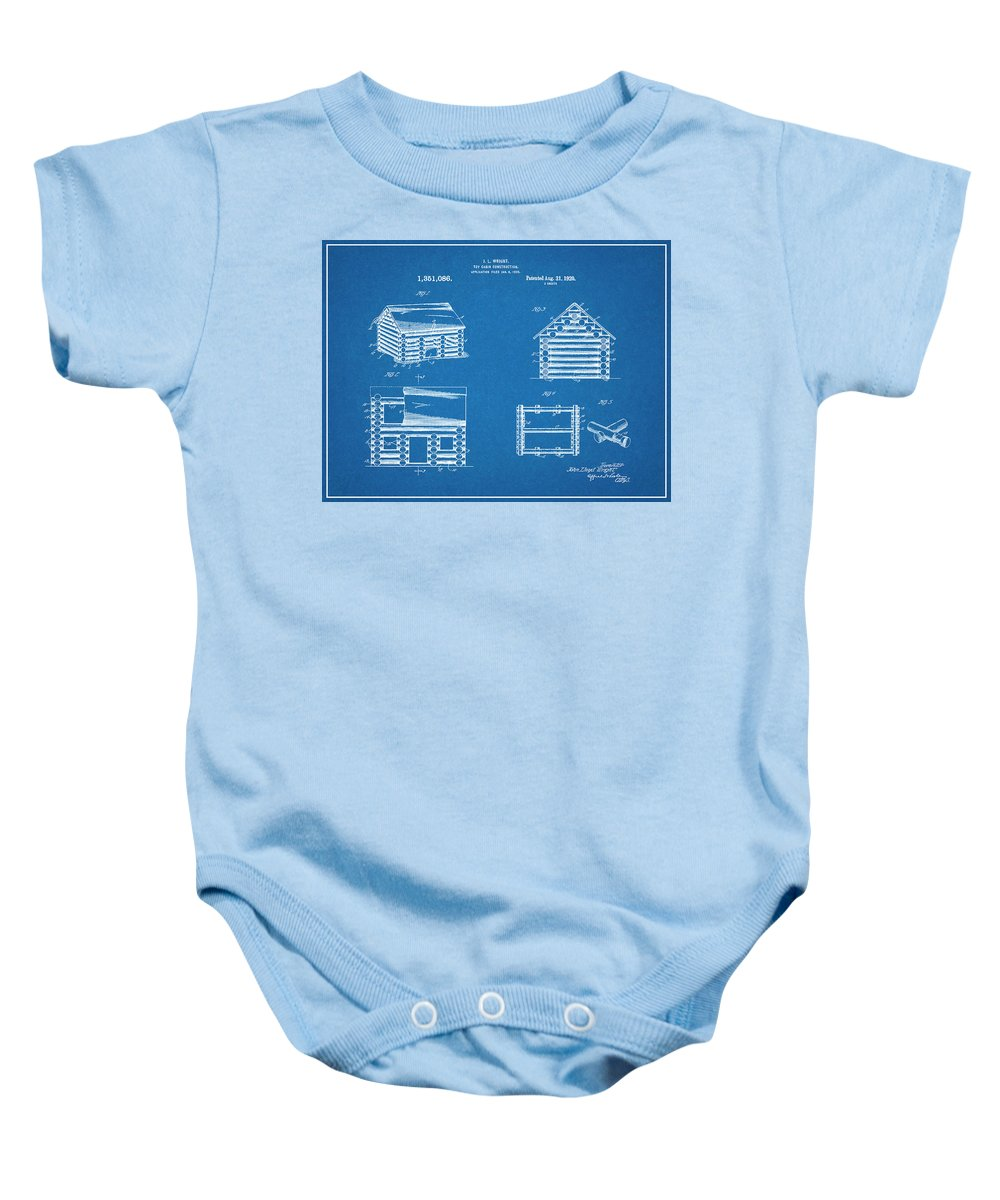 1920 Lincoln Logs Patent Print Baby Onesie featuring the drawing 1920 Lincoln Logs Blueprint Patent Print by Greg Edwards