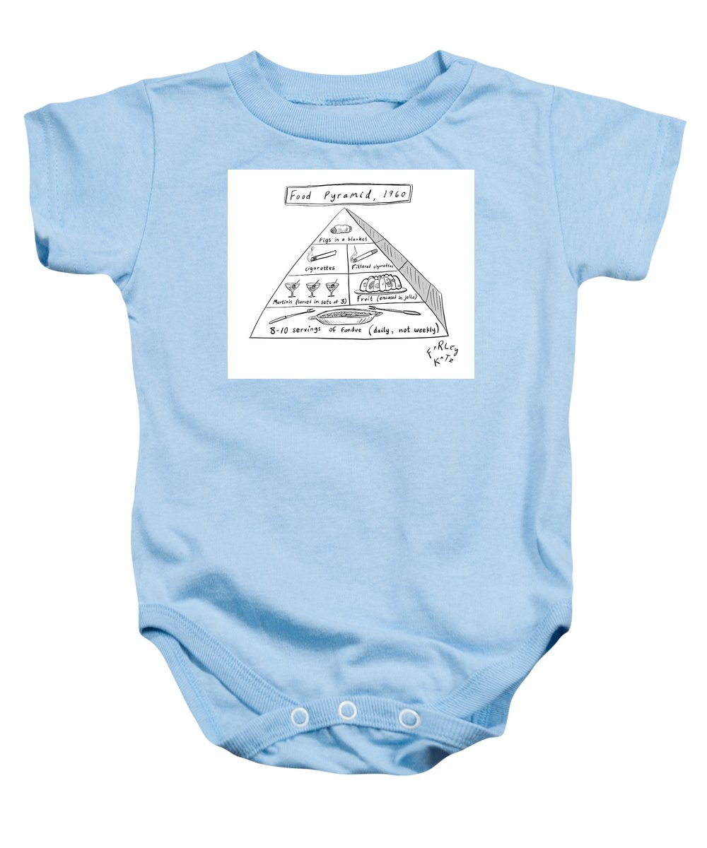 Food Pyramid Baby Onesie featuring the drawing 1960s Food Pyramid by Farley Katz