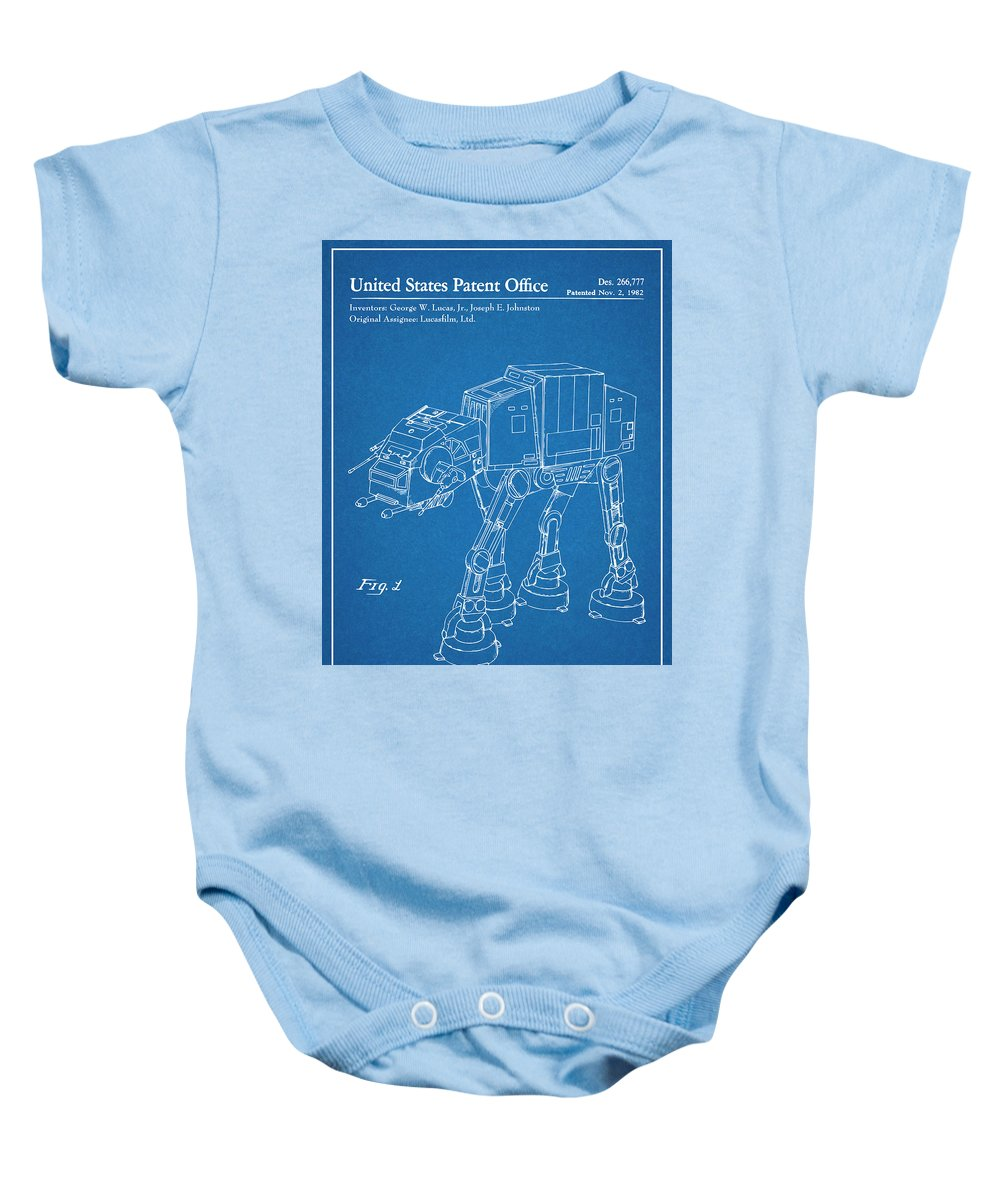 1982 Star Wars At-at Imperial Walker Patent Print Baby Onesie featuring the drawing 1982 Star Wars At-at Imperial Walker Blueprint Patent Print by Greg Edwards