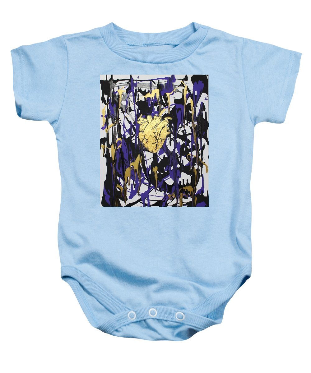 Love Baby Onesie featuring the painting Madness Behind the Beauty by Sonye Locksmith