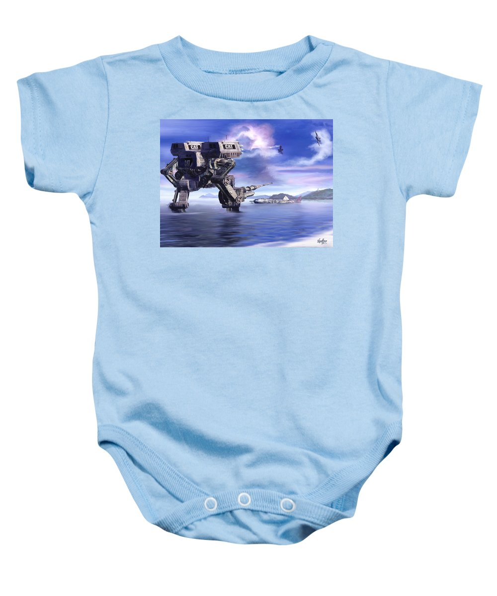 Science Fiction Baby Onesie featuring the mixed media 501st Mech Defender by Curtiss Shaffer