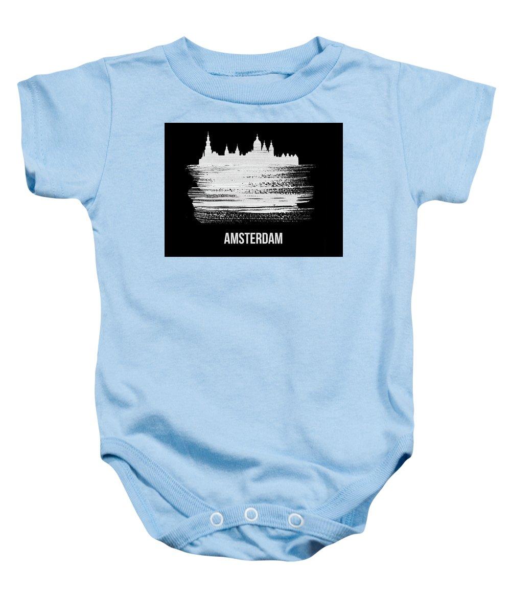 Amsterdam Baby Onesie featuring the mixed media Amsterdam Skyline Brush Stroke White by Naxart Studio