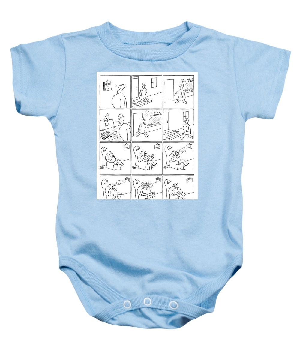 106926 Oso Otto Soglow Baby Onesie featuring the drawing April Fools Day by Otto Soglow