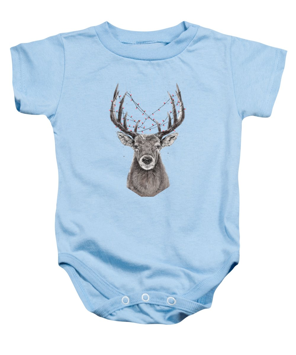Deer Baby Onesie featuring the drawing Xmas deer II by Balazs Solti