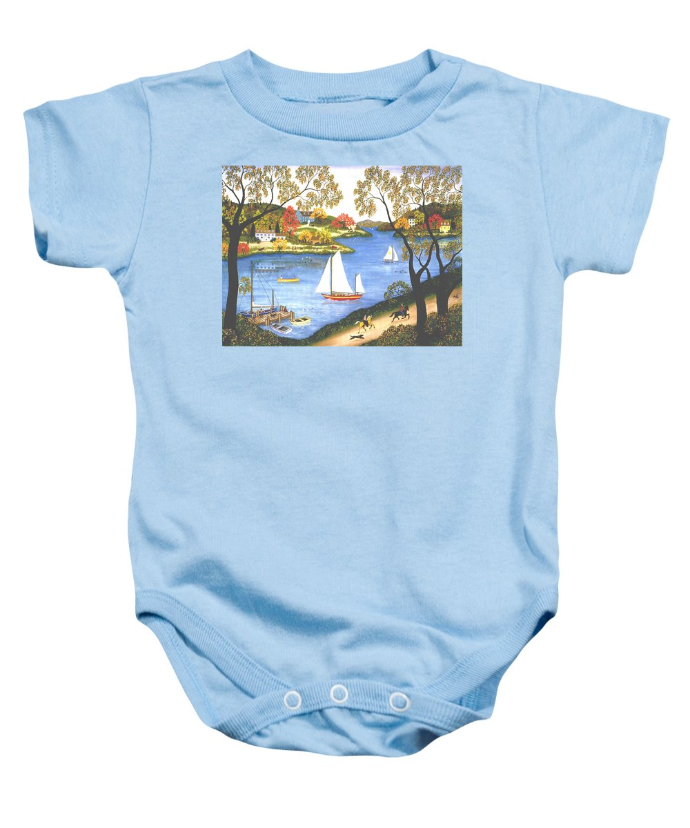 Contemporary Fine Art Landscape Baby Onesie featuring the painting Autumn Holiday by Linda Mears