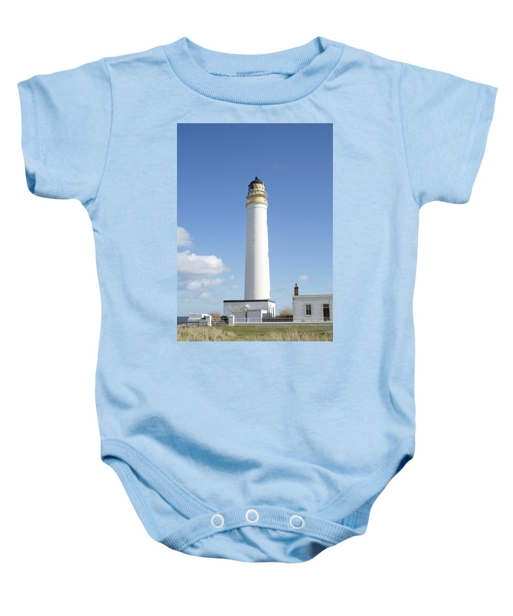 Lighthouse Baby Onesie featuring the photograph Barns Ness Lighthouse In Summer by Victor Lord Denovan