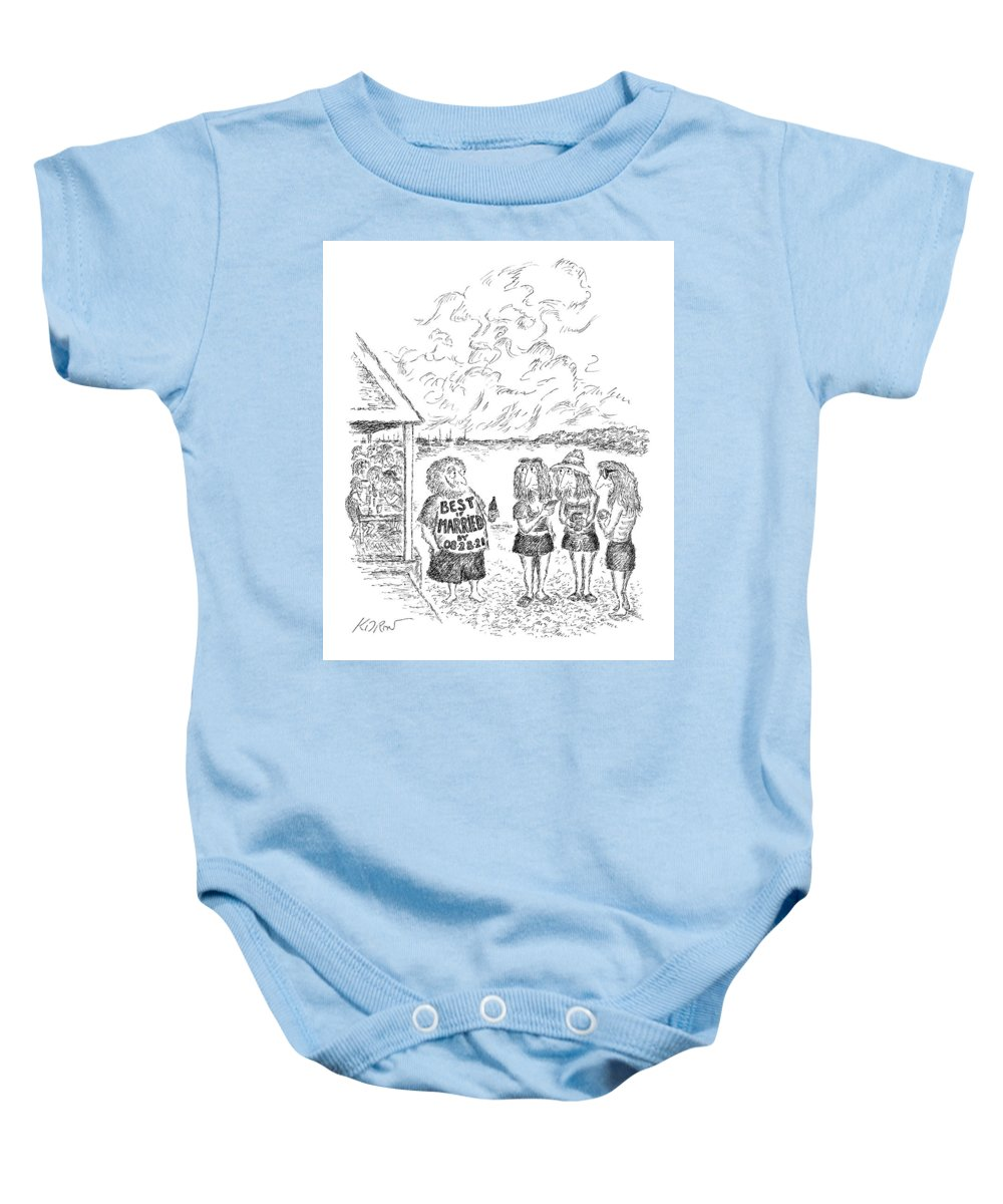 Captionless Baby Onesie featuring the drawing Best If Married By by Edward Koren