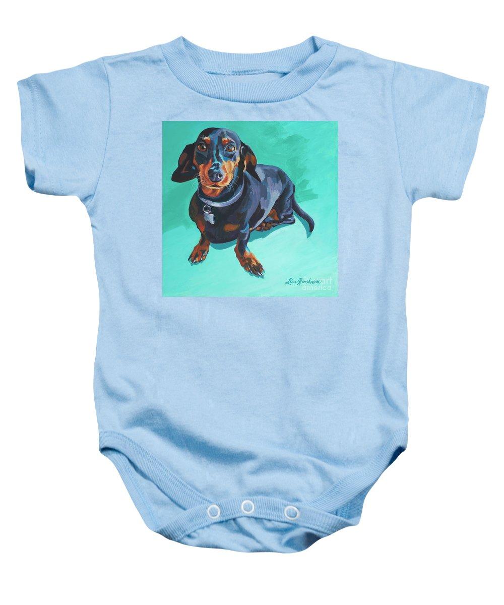 Dachshund Baby Onesie featuring the painting Blue Dachshund by Lisa Hershman