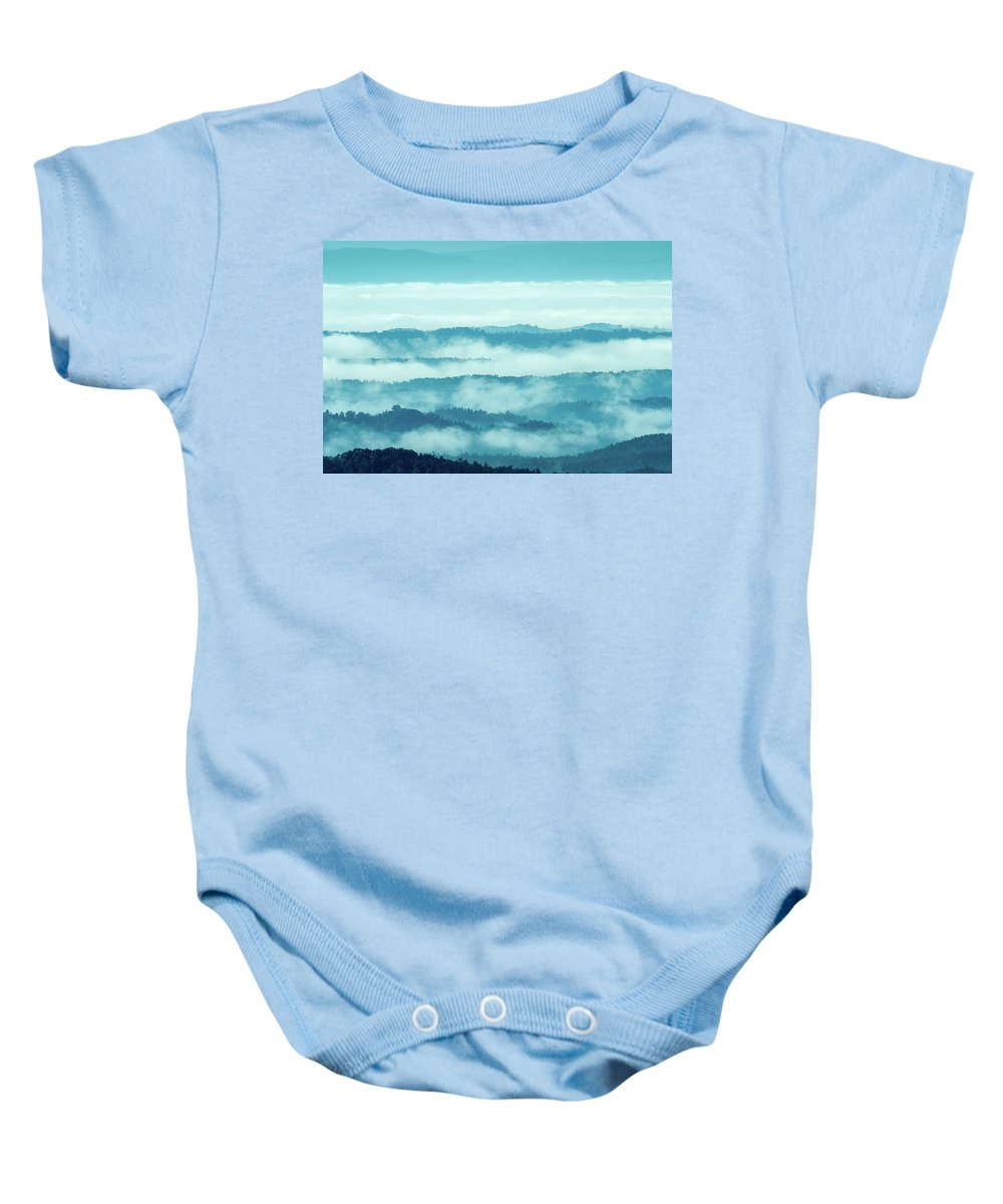 Blue Ridge Mountains Baby Onesie featuring the photograph Blue Ridge Mountains Layers Upon Layers In Fog by Mike Koenig