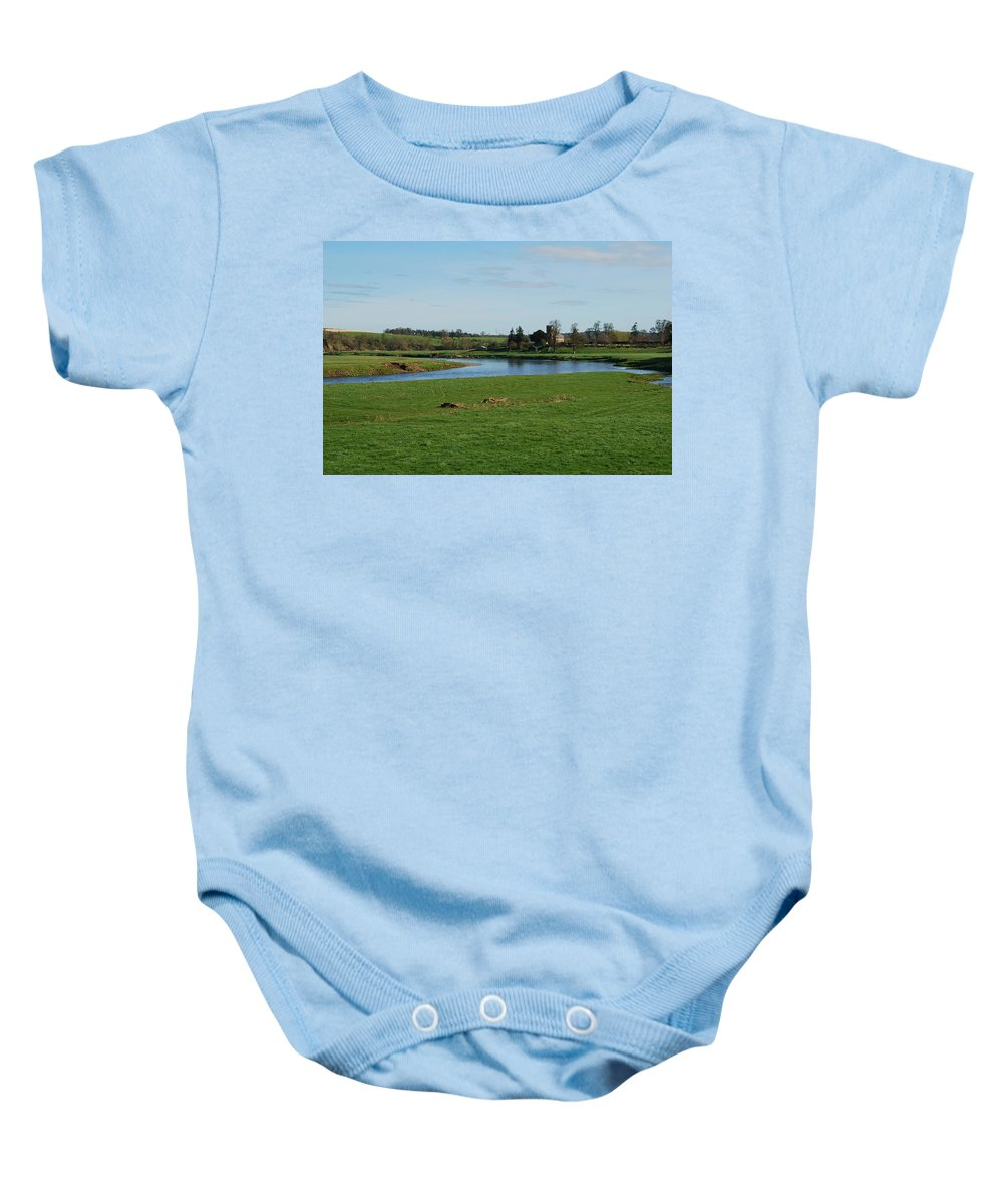 Carham Church Baby Onesie featuring the photograph Carham Church And River Tweed by Victor Lord Denovan