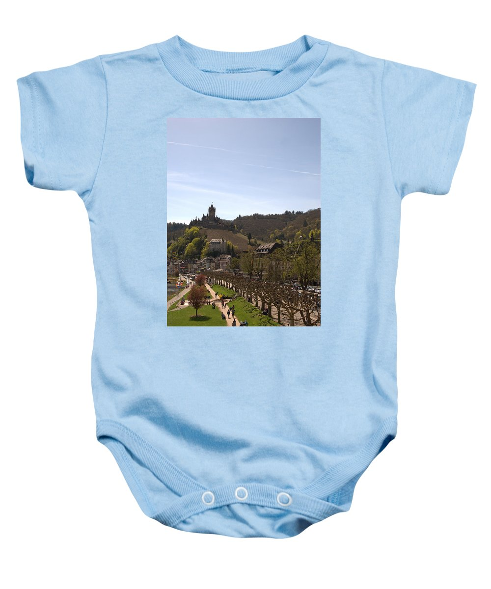 Castle Baby Onesie featuring the photograph Cochem Main Street And Castle In Springtime In Germany by Victor Lord Denovan