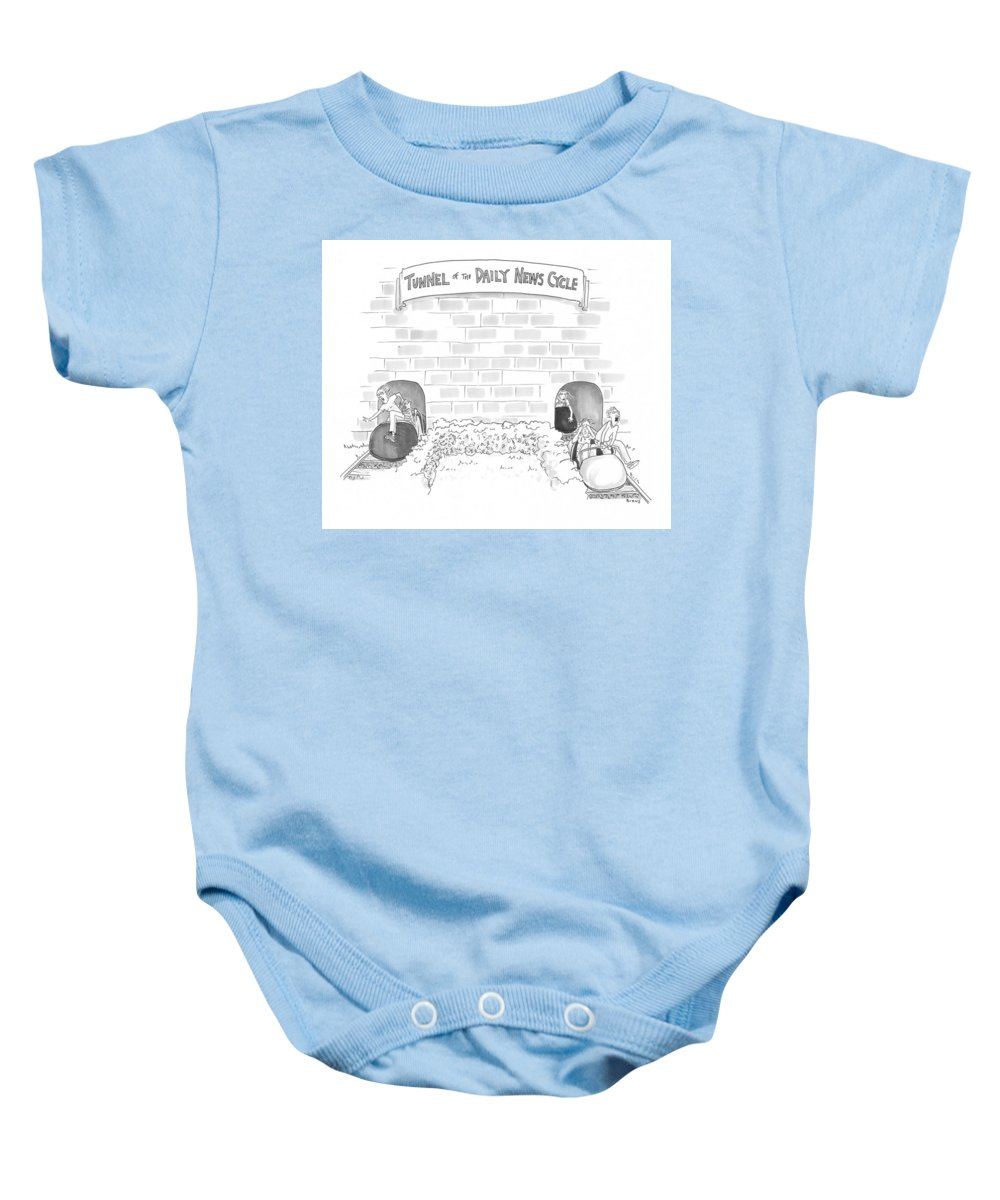 Captionless Baby Onesie featuring the drawing Daily News Cycle by Teresa Burns Parkhurst