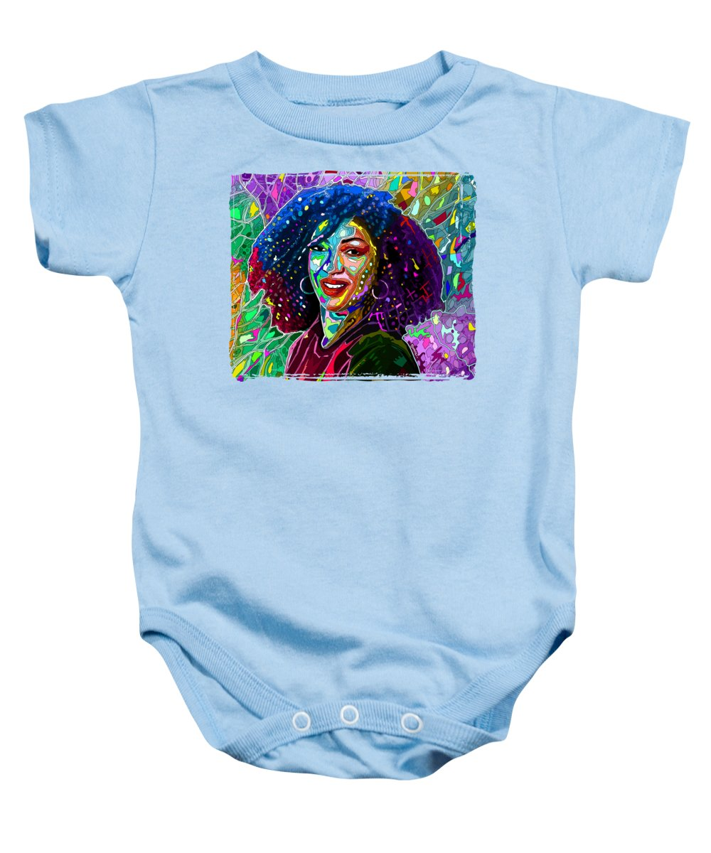 Disco Baby Onesie featuring the painting Disco Lights On My Face by Anthony Mwangi