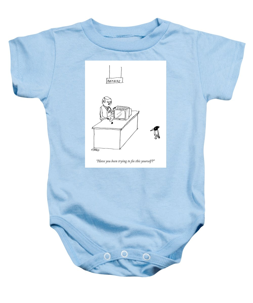"""""""have You Been Trying To Fix This Yourself?"""" Television Baby Onesie featuring the drawing Do It Yourself Television Repair by Edward Steed"""