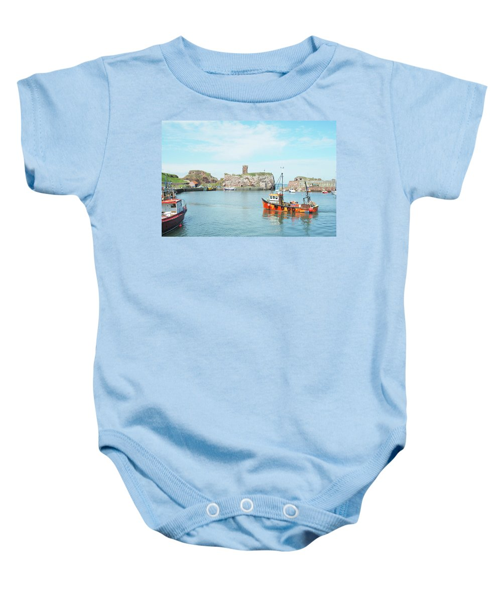 Castle Baby Onesie featuring the photograph Dunbar Castle Ruins, Harbour And Fishing Boats by Victor Lord Denovan