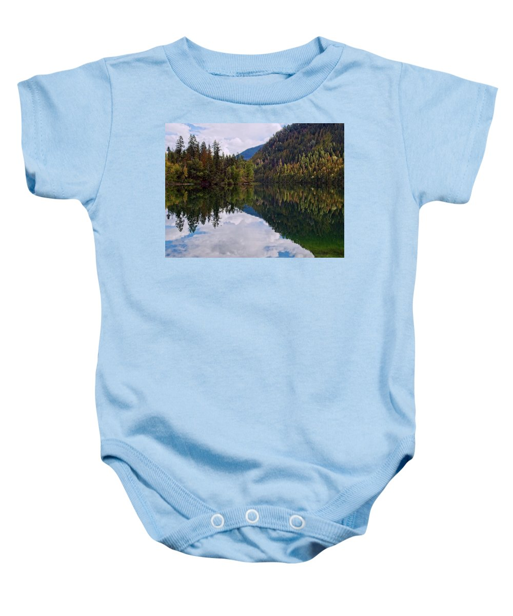 Landscape Baby Onesie featuring the photograph Echo Lake Early Autumn Reflection by Allan Van Gasbeck