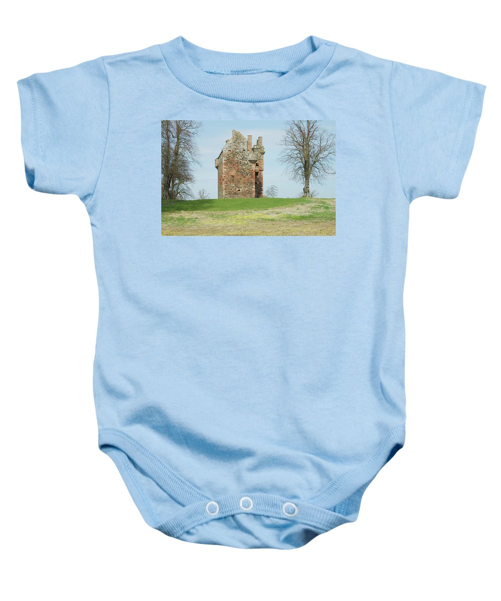 Greenknowe Baby Onesie featuring the photograph Greenknowe Tower Ruin by Victor Lord Denovan