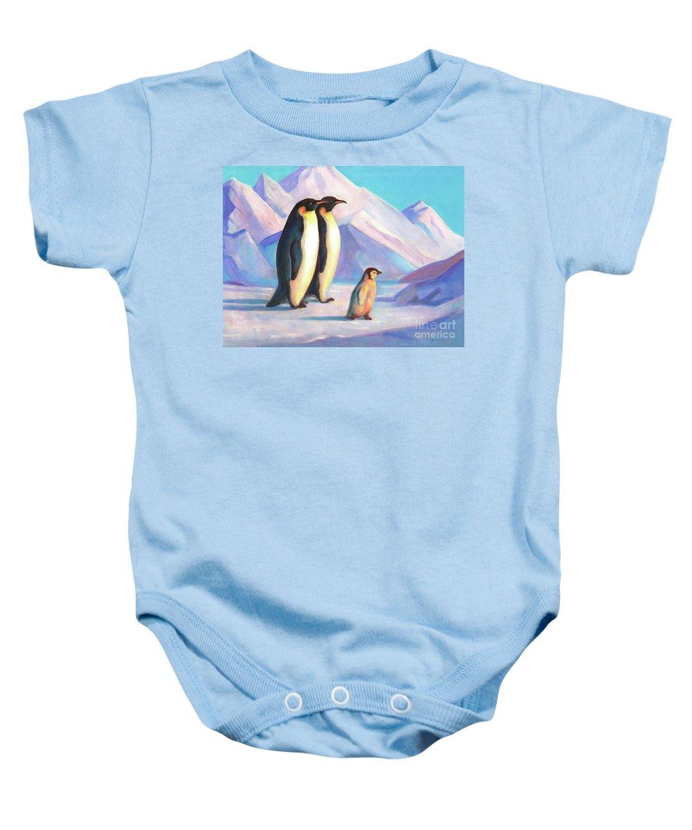 Penguin Baby Onesie featuring the painting Happy Penguin Family by Svitozar Nenyuk