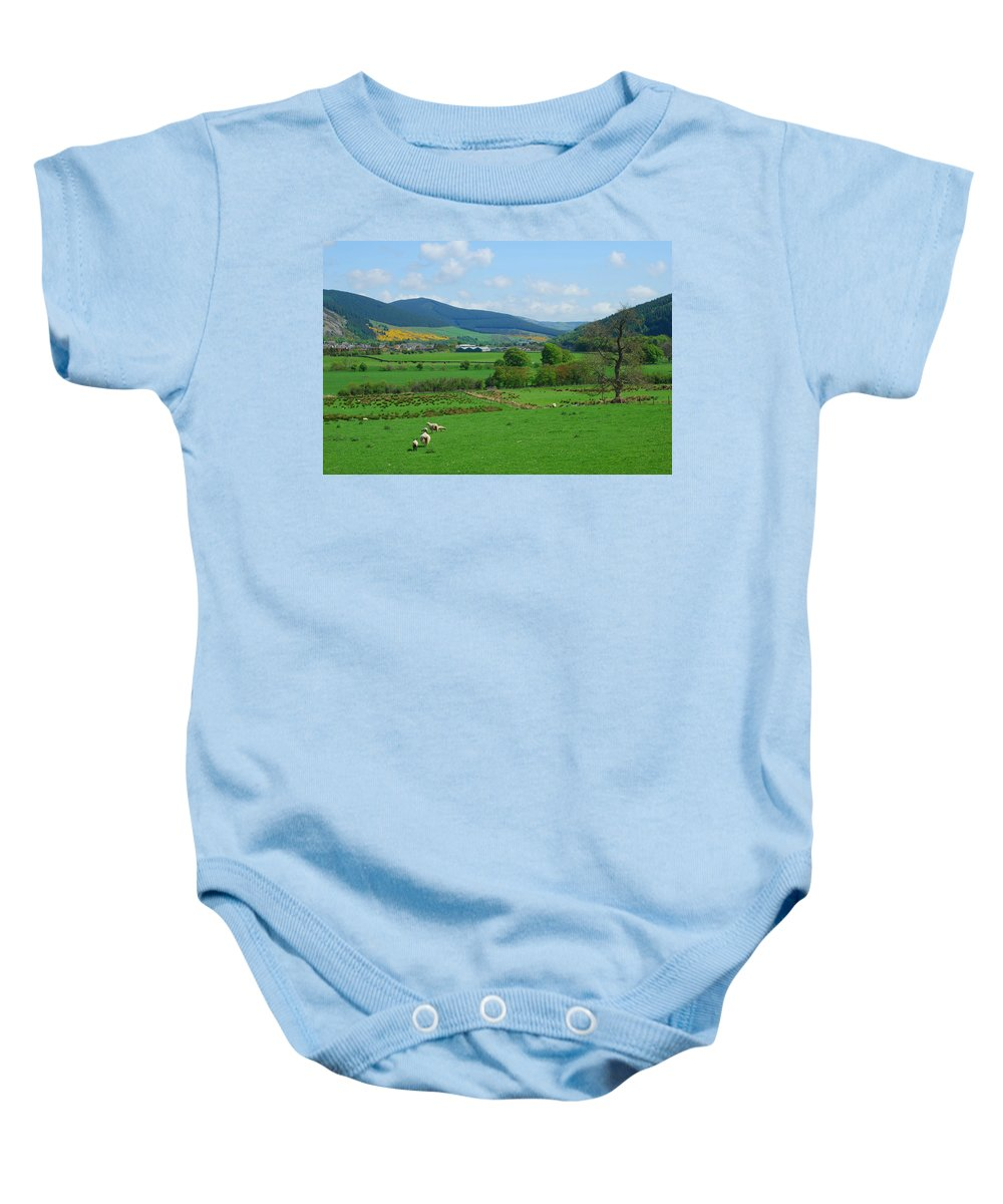 Innerleithen Baby Onesie featuring the photograph Innerleithen And Tweed Valley Looking East by Victor Lord Denovan