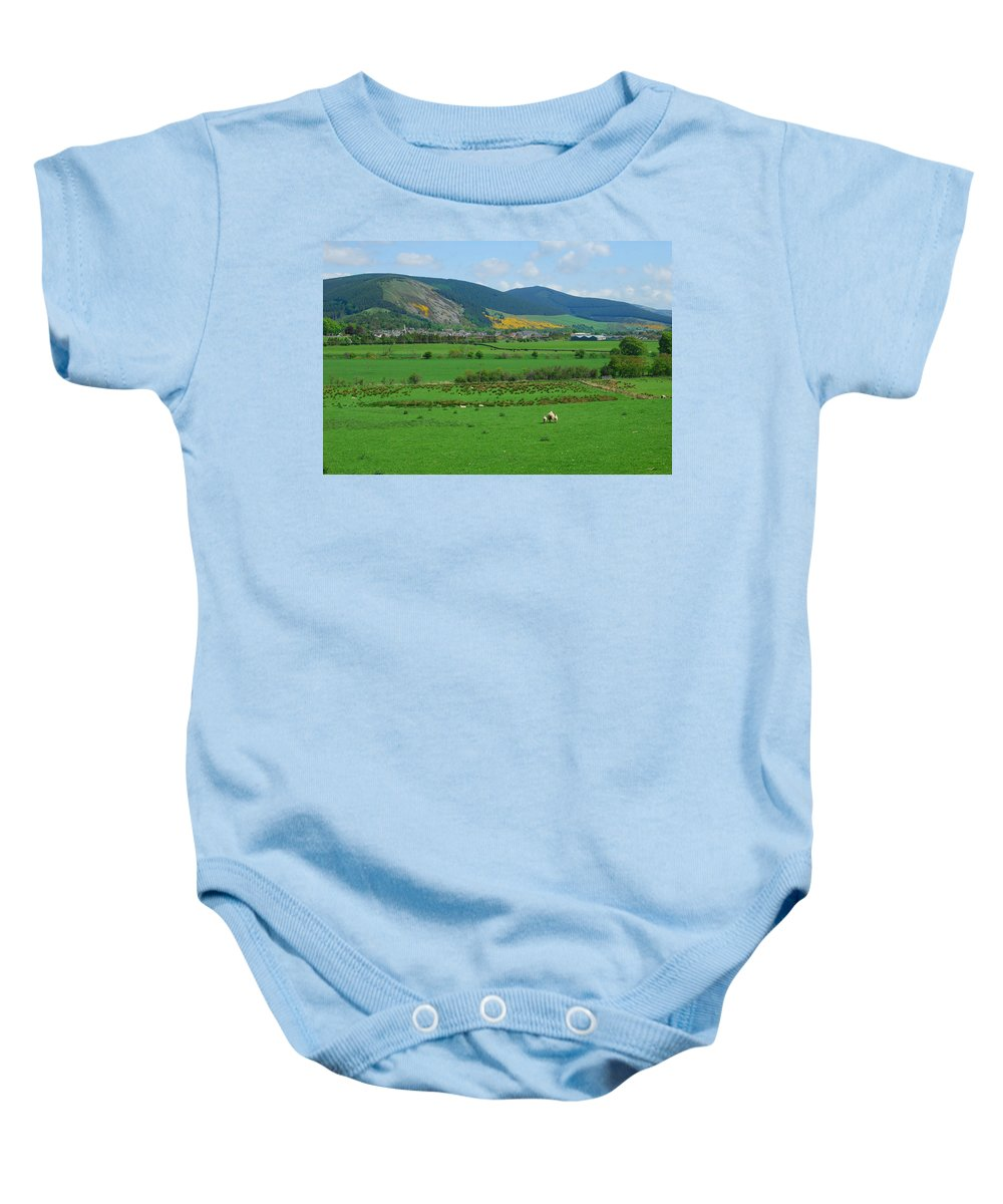 Innerleithen Baby Onesie featuring the photograph Innerleithen In The Tweed Valley by Victor Lord Denovan