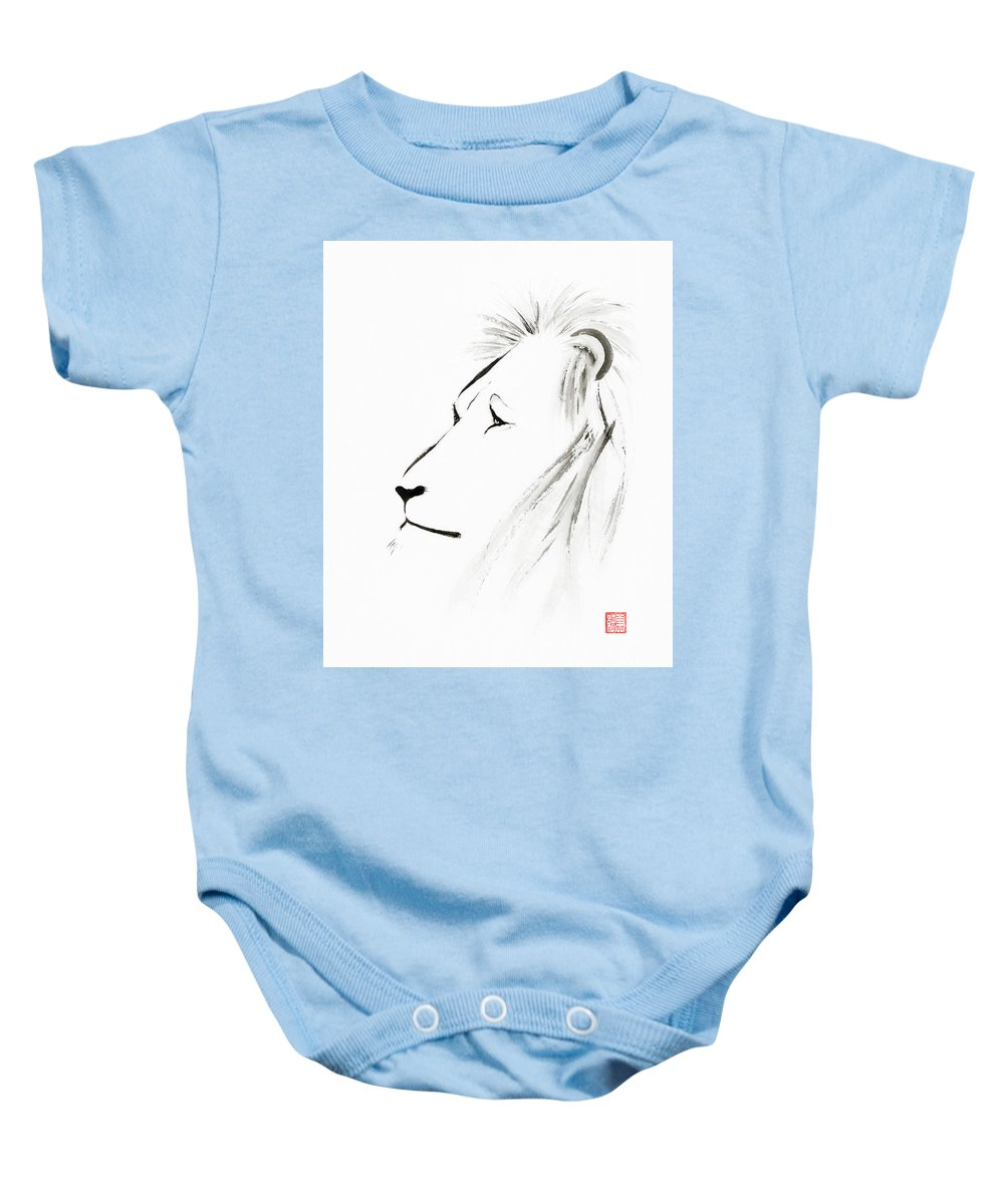 Lion Baby Onesie featuring the painting Lion Face With A Deep Wise Gaze Japanese Sumi-e Illustration by Awen Fine Art Prints