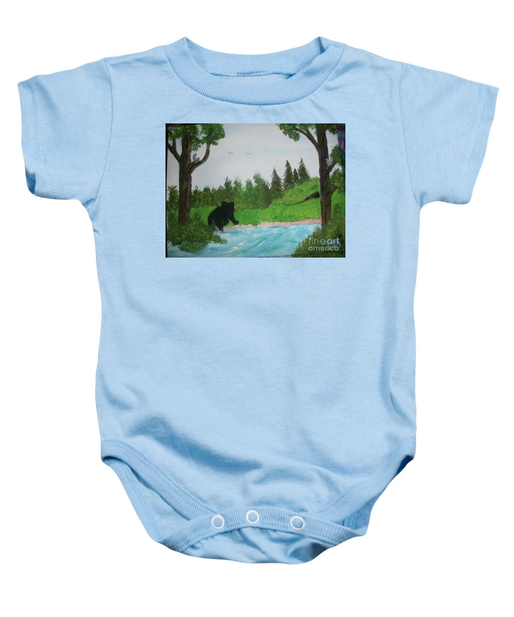Bear Baby Onesie featuring the painting Maine Black Bear by Sally Bell