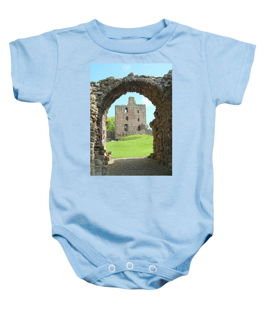 Norham Baby Onesie featuring the photograph Norham Castle And Entrance Gate by Victor Lord Denovan